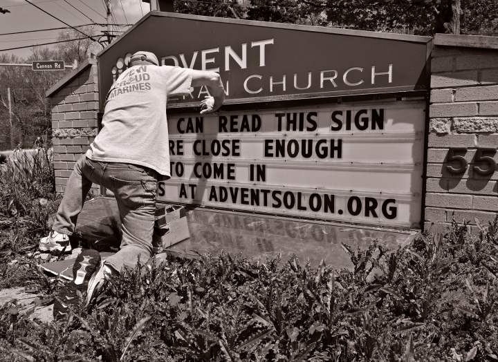 Updating a sign, at a local church in Solon, Ohio.